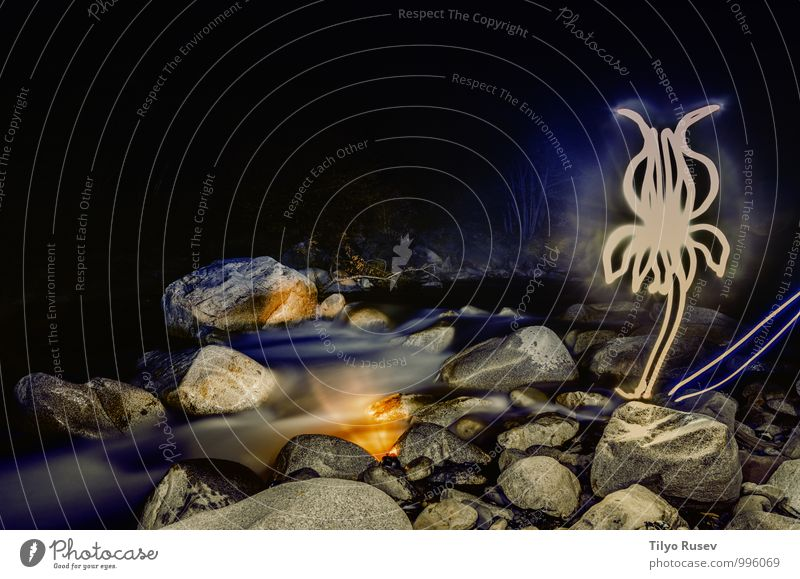 Natur Wasser Kunst Felsen Europa Fluss Frankreich Figur fließen glühen Tatkraft Lichtmalerei