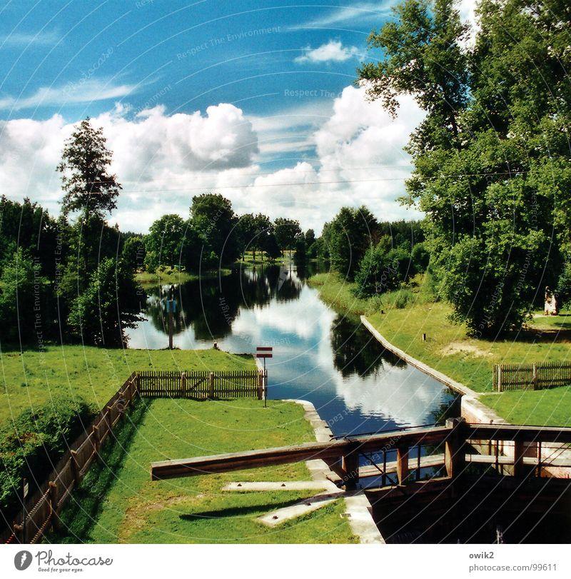 Kanal Augustów Natur Ferien & Urlaub & Reisen Pflanze blau grün Wasser Landschaft ruhig Ferne Umwelt Wiese Freiheit Tourismus Freizeit & Hobby Idylle Technik & Technologie