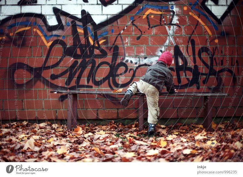 kleiner (Bank-)räuber Mensch Stadt Blatt Leben Wand Graffiti Herbst Gefühle Junge Stil Mauer Lifestyle Freizeit & Hobby Treppe Körper