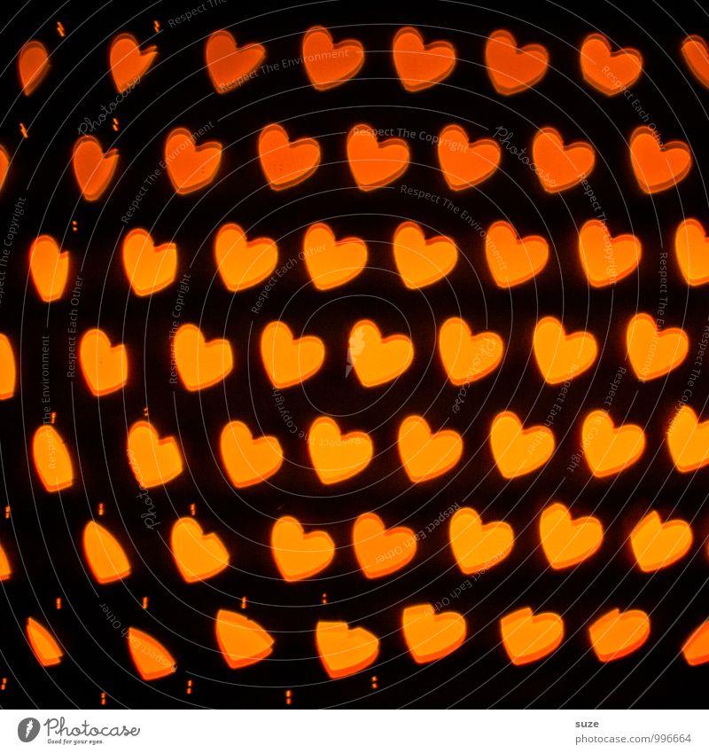 Genug für alle ... Lifestyle Stil Design Dekoration & Verzierung Nachtleben Feste & Feiern Valentinstag Geburtstag Zeichen Herz leuchten Fröhlichkeit orange