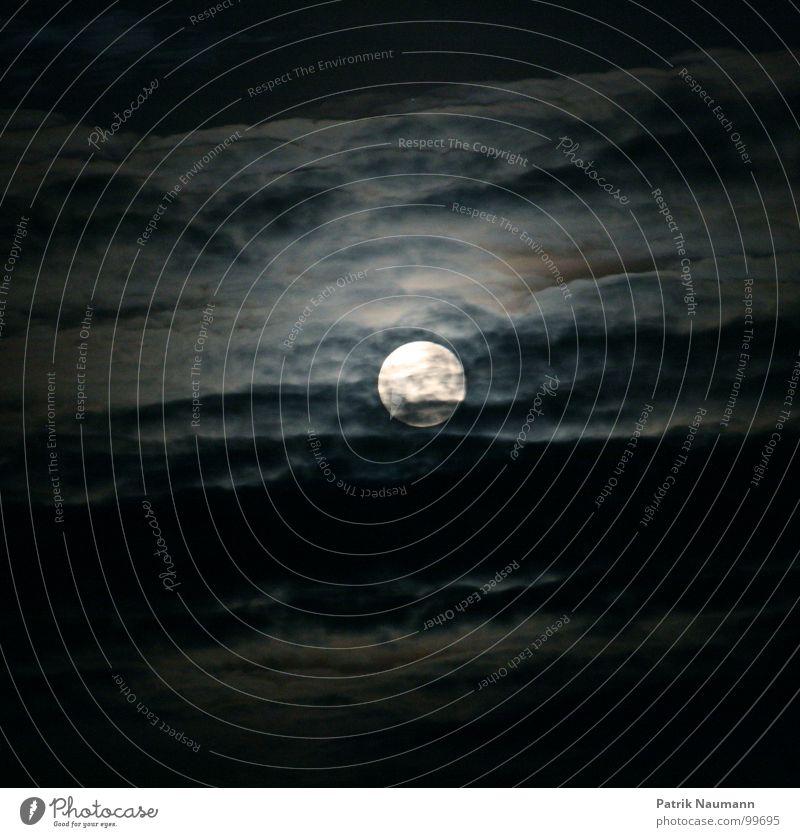 bei Nacht aktiv Vollmond schwarz Wolken schlechtes Wetter Mondschein Beleuchtung dunkel Himmel Werwolf Wolf Angst gefährlich aufregend Hölle