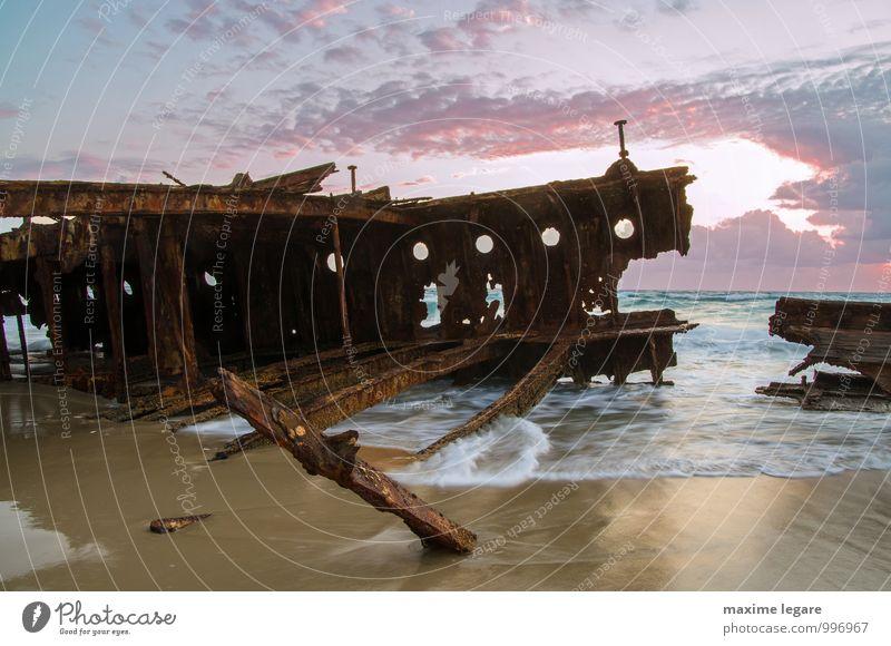 Himmel Ferien & Urlaub & Reisen alt Wasser Sommer Sonne Meer Landschaft Wolken Strand Küste Holz Sand Metall Wellen Tourismus