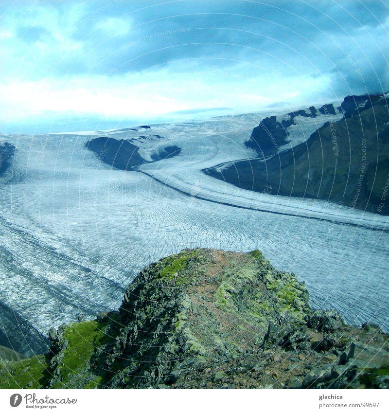 Wunderwelt III Island Einsamkeit Gletscher kalt Ewigkeit Ewiges Eis Gletscherzunge Nebel Wiese Luft ruhig grau Meer See Wolken Europa Fluss Bach