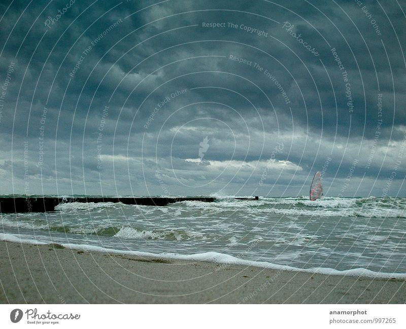 Stormrider Strand Meer Wellen Wassersport Extremsport Windsurfing Himmel Wolken Wetter schlechtes Wetter Sturm Küste Ostsee Fitness sportlich bedrohlich dunkel