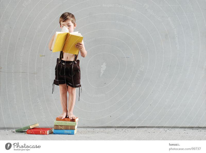 Hochstapler Kind Hand gelb Tracht Wand Junge Deutschland Kindheit Buch hoch Beton lernen Studium Wachstum stehen lesen
