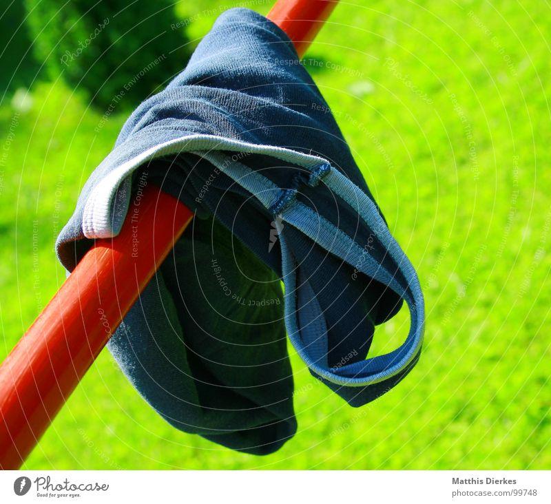 ABHÄNGEN Unterhemd Bekleidung Stab Schaukel Sommer Physik heiß braun Sonnenbad wegwerfen achtlos heizen Gras grün diagonal trocken trocknen Spielen