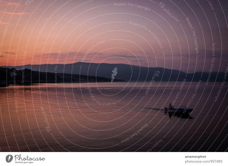 Fahrt in die Nacht Ferien & Urlaub & Reisen Erholung fahren violett orange schwarz Glück Zufriedenheit friedlich Vorsicht Gelassenheit geduldig ruhig Farbe