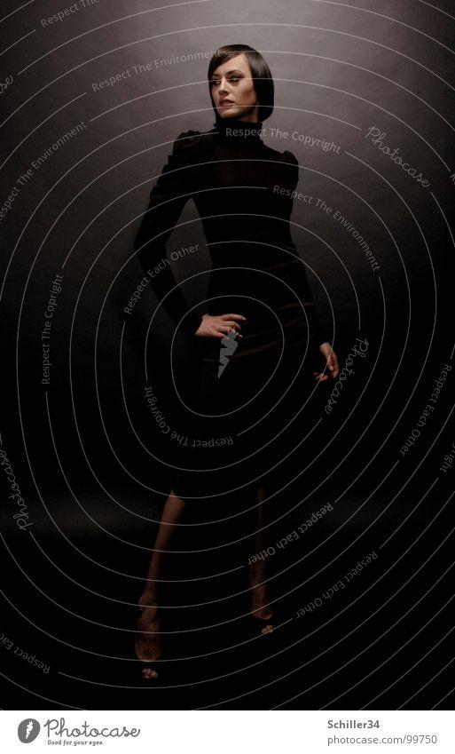 gschpænli 01 Frau Junge Frau Beautyfotografie Dame Model schön Glamour elegant dunkel schwarz Licht Lichteinfall glänzend Studioaufnahme Silhouette