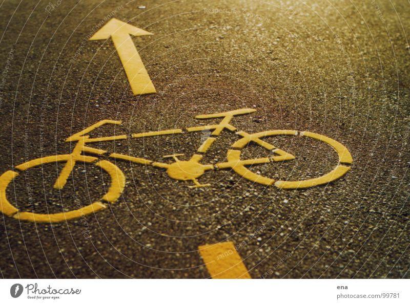 stückel das bike gelb Straße Bodenbelag Symbole & Metaphern Asphalt Piktogramm Fahrbahnmarkierung Straßennamenschild Fahrradweg körnig Landkreis Konstanz