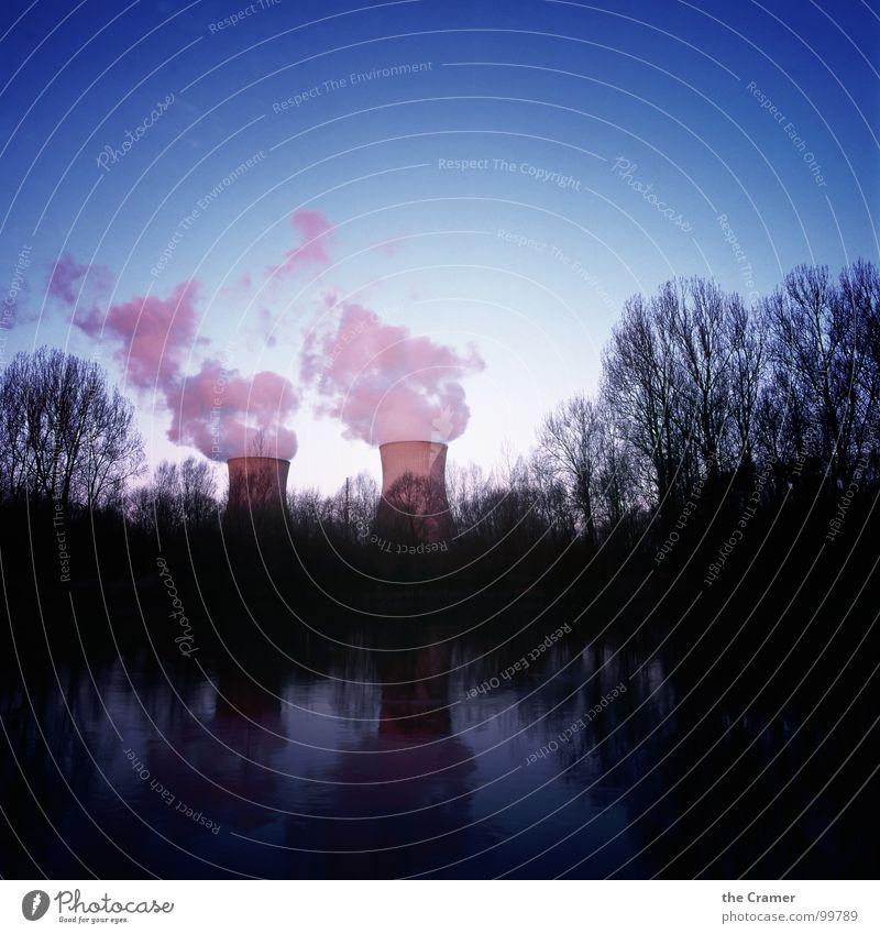 AKW und Abendrot Wasser blau Kraft rosa Industrie Energiewirtschaft Elektrizität Fluss Abenddämmerung Kernkraftwerk Atom Donau Radioaktivität