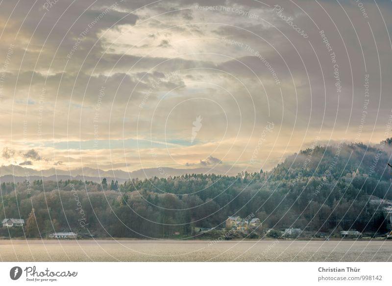 Winterstimmung Natur Ferien & Urlaub & Reisen Erholung Landschaft ruhig Wolken Ferne Wald Berge u. Gebirge Umwelt Leben Freiheit See Stimmung Felsen