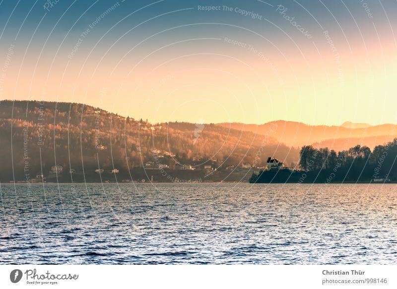 Abendstimmung Natur Ferien & Urlaub & Reisen Pflanze Wasser Erholung Landschaft ruhig Winter Berge u. Gebirge Umwelt See Zufriedenheit Tourismus leuchten Nebel
