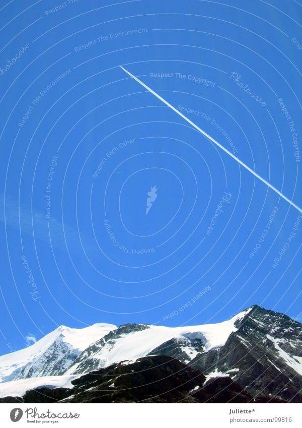 MIG 29 Himmel weiß blau Ferne Schnee Berge u. Gebirge Flugzeug Luftverkehr Niveau Freizeit & Hobby Schweiz Unendlichkeit
