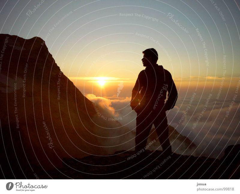 Bergsehnsucht Sehnsucht Wolken träumen Hoffnung Sonnenuntergang Berge u. Gebirge Einsamkeit