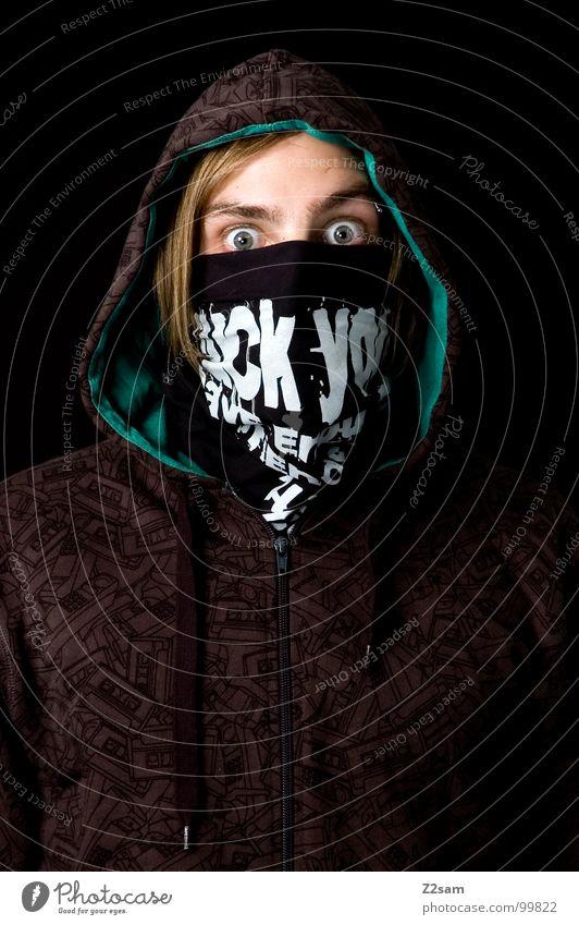 fuck you!........ Mann Porträt Oberkörper blond Jugendliche grün Muster erstaunt erschrecken Krimineller Hiphop Jugendkultur Tagger Mensch Kopf kapute