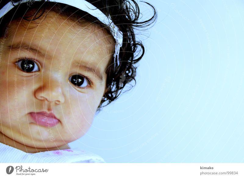 Chiniquicuicui Mädchen blau Gesicht Auge Konzentration Fett Kleinkind Mexiko