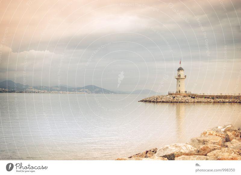 Leucht, Turm, leucht! Ferien & Urlaub & Reisen blau Meer gelb braun leuchten Tourismus Ordnung Ausflug Kommunizieren Sicherheit Sommerurlaub Leuchtturm