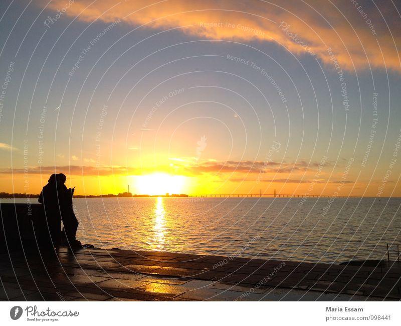 Alla hjärtans dag Mensch Ferien & Urlaub & Reisen blau Meer Erholung Ferne gelb Leben Liebe Küste Glück Freiheit Paar Zusammensein Horizont orange