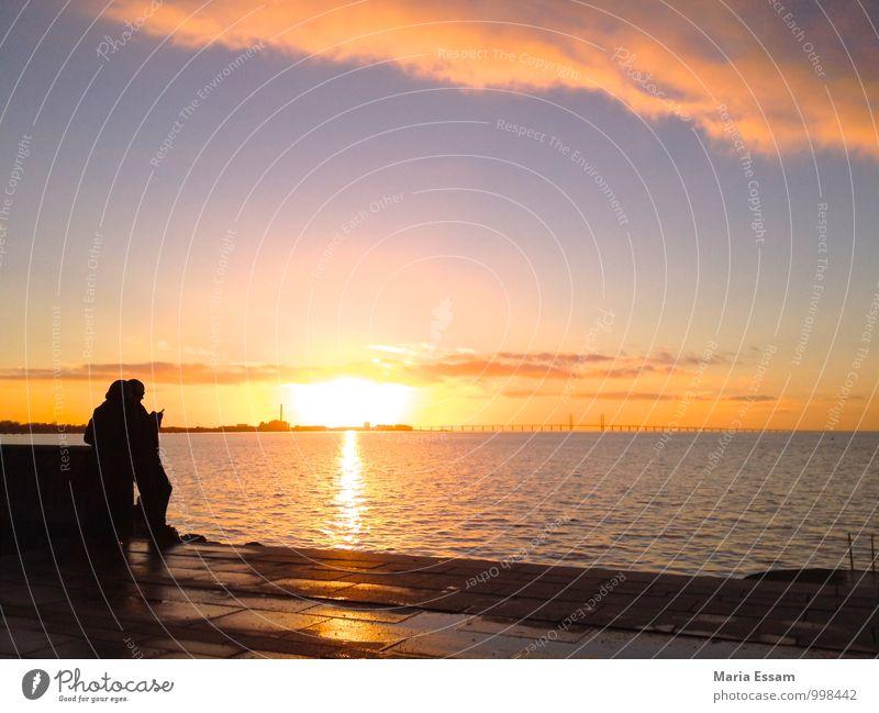 Scandinavian Sunset Zufriedenheit Ferien & Urlaub & Reisen Tourismus Freiheit Meer Mensch Paar Erwachsene 2 Wasser Himmel Horizont Sonnenaufgang Sonnenuntergang
