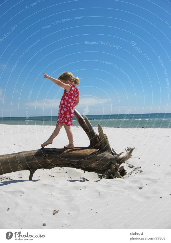 Balance dance Zufriedenheit Strand Meer Tanzen Kind Mädchen 1 Mensch 3-8 Jahre Kindheit Sand Küste Ostsee Kleid Spielen blau rosa Freude Fröhlichkeit Treibholz