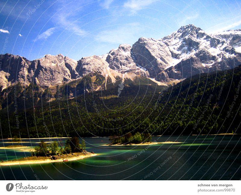 heile welt Eibsee See Bergkette Sommer türkis Wolken Wald Baum Gebirgssee Zugspitze Panorama (Aussicht) Berge u. Gebirge Wasser blau Himmel Insel hoch groß