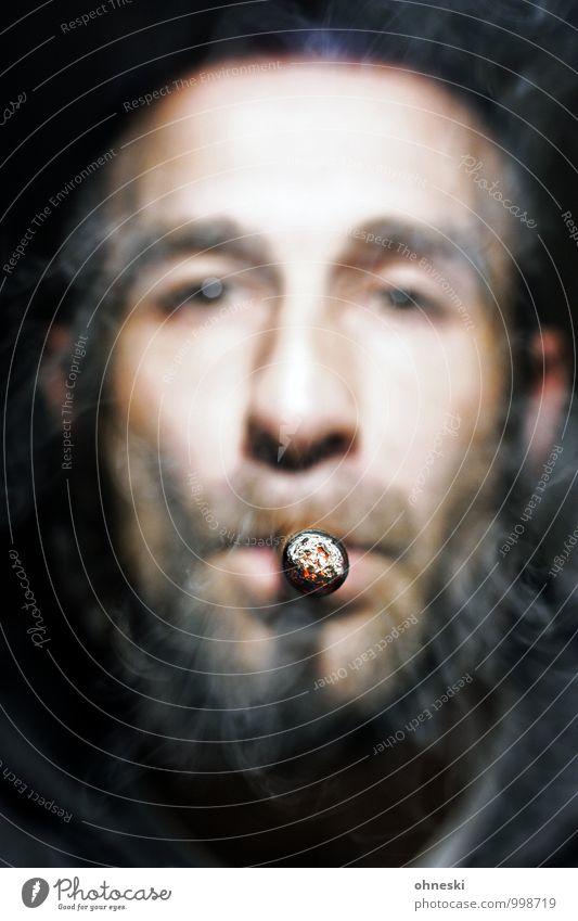 Man gönnt sich ja sonst nichts Lifestyle Feste & Feiern maskulin Mann Erwachsene 1 Mensch 30-45 Jahre Zigarre Tabak Rauchen Genusssucht Stil Sucht Nikotin