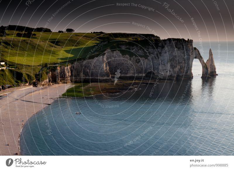 Golfplatz Natur Ferien & Urlaub & Reisen Sommer Meer Landschaft Strand Wiese Küste Felsen Horizont Tourismus Bucht Sommerurlaub Frankreich Klippe Flut