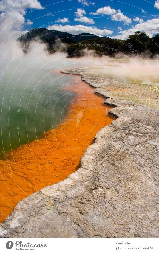 Hell...? Wasser grün Farbe grau See Park hell orange Schwimmbad heiß Hölle Wasserdampf Vulkan Sightseeing Neuseeland Champagner