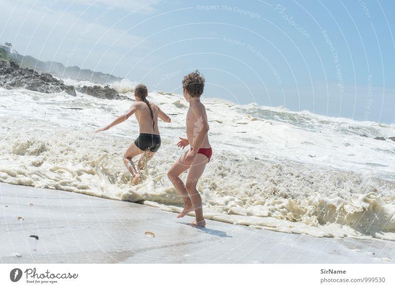 338 Himmel Natur Ferien & Urlaub & Reisen Jugendliche Sommer Meer Junger Mann Freude Strand natürlich Glück Freiheit Schwimmen & Baden Zufriedenheit Wellen