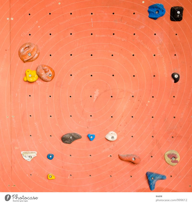 Wandspiel Lifestyle Freude Freizeit & Hobby Sport Klettern Bergsteigen Kunststoff Fitness authentisch einzigartig orange anstrengen Sport-Training vertikal