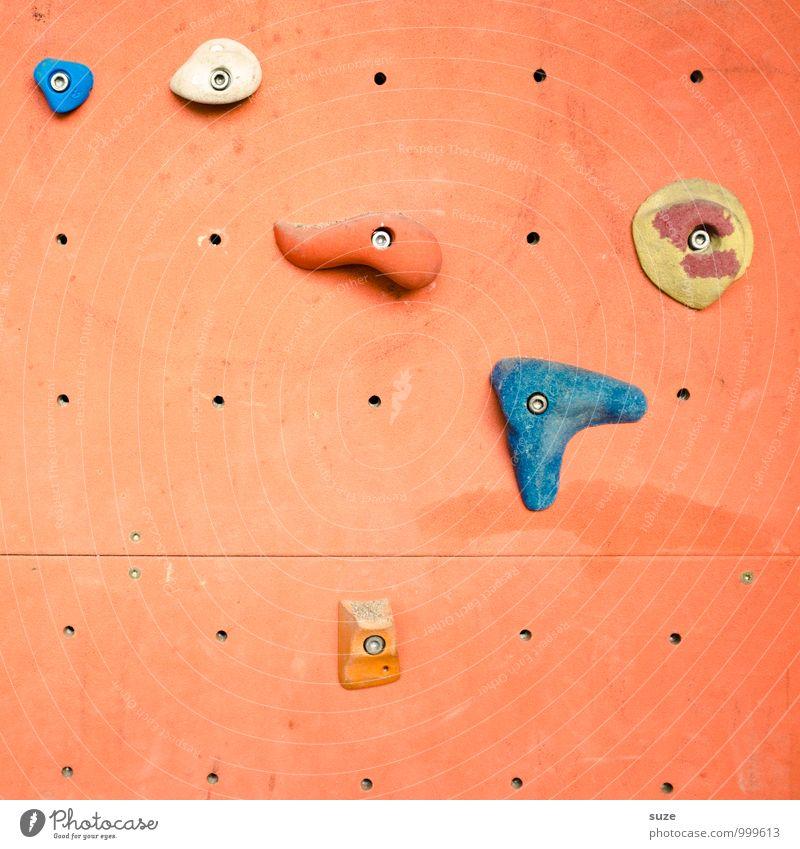 Handlungsbedarf Lifestyle Freude Freizeit & Hobby Sport Klettern Bergsteigen Kunststoff Fitness authentisch einfach einzigartig orange anstrengen Wand