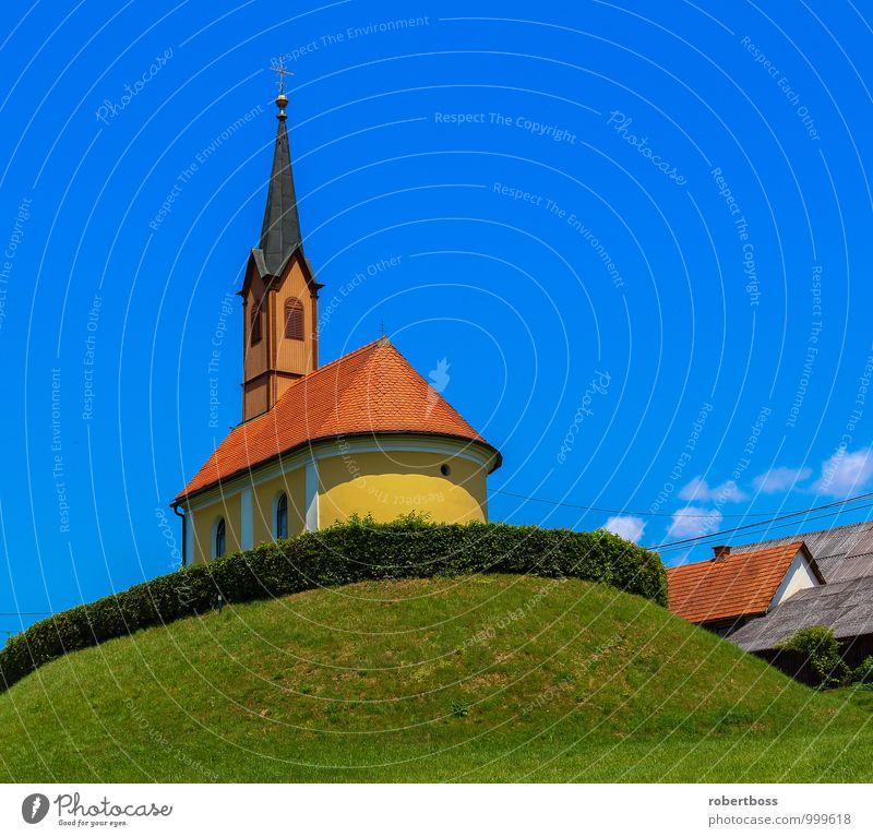 Austrian Church Ferien & Urlaub & Reisen Himmel Europa Dorf Dom Bauwerk Gebäude Architektur Sehenswürdigkeit Tower (Luftfahrt) Religion & Glaube cross