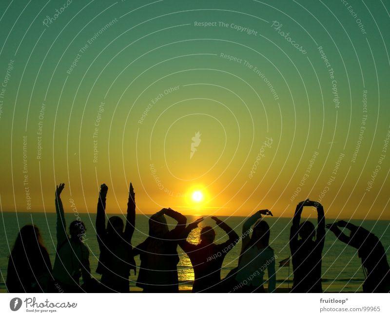good mornig sunshine Hand Licht Zauberei u. Magie Himmelskörper & Weltall Sonne dunkle Personen Demmerung Abend Nordsee