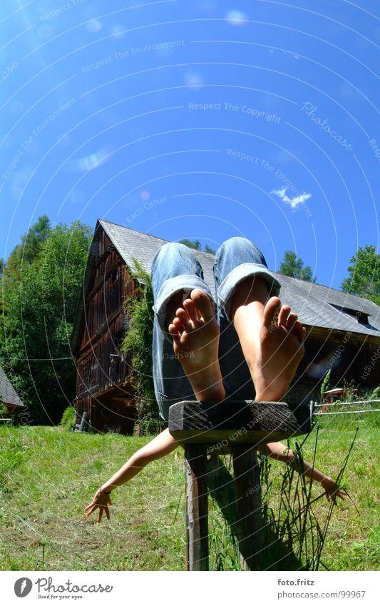 resting at the alp Frau Himmel grün blau Sommer Ferien & Urlaub & Reisen ruhig Wolken Leben Erholung springen Garten träumen Fuß Park Kraft
