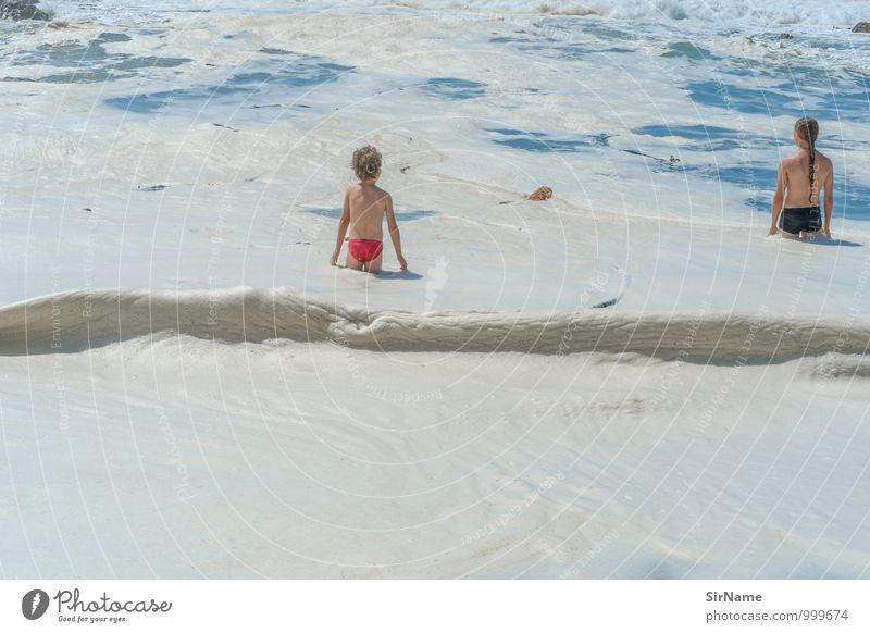 305 [schaumbad] Schwimmen & Baden Ferien & Urlaub & Reisen Abenteuer Sommer Sommerurlaub Sonne Meer Wellen Junge Junger Mann Jugendliche Geschwister Kindheit 2