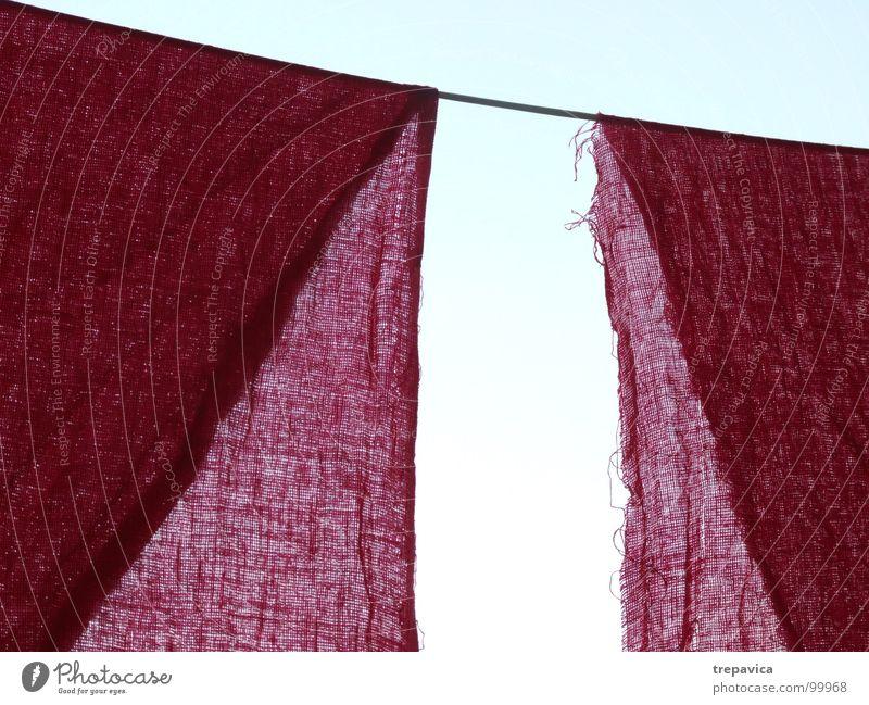 textil Himmel blau Farbe 2 rosa Hintergrundbild Seil Netz Stoff leicht durchsichtig Material Gardine Nähgarn Textilien trocknen