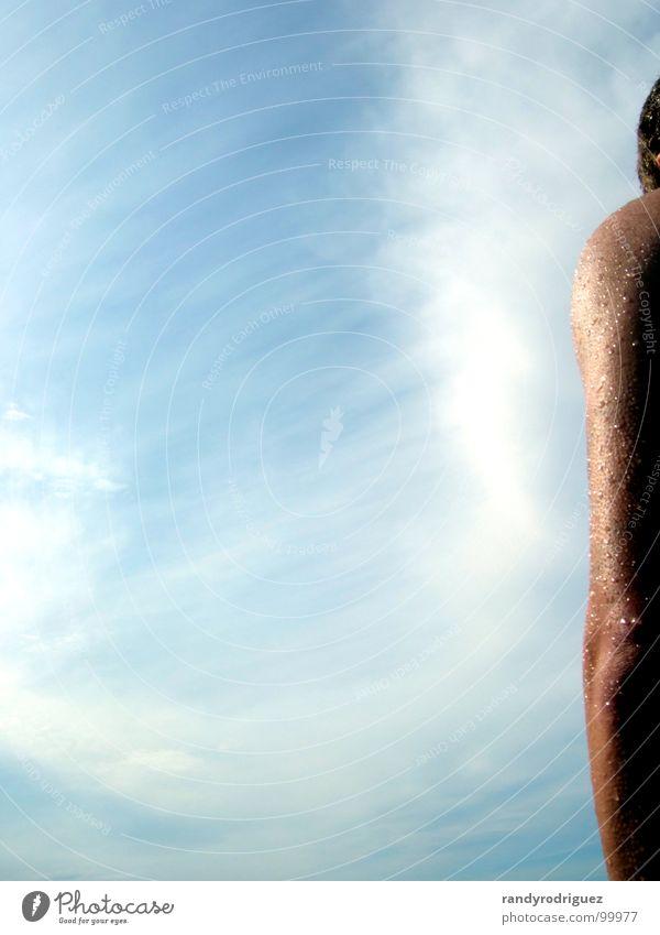 Randfigur Mensch Himmel Sommer Wasser Sonne Wolken Freude Schwimmen & Baden braun Wassertropfen nass Segeln Am Rand Allgäu