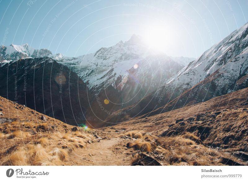 Himalayayaayaa Natur Ferien & Urlaub & Reisen Landschaft Berge u. Gebirge Reisefotografie hell Felsen Schneefall Tourismus wandern Ausflug Abenteuer Gipfel
