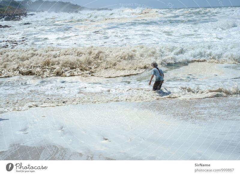 325 Schwimmen & Baden Ferien & Urlaub & Reisen Ausflug Abenteuer Freiheit Sommerurlaub Strand Meer Wellen Erneuerbare Energie Junger Mann Jugendliche 1 Mensch
