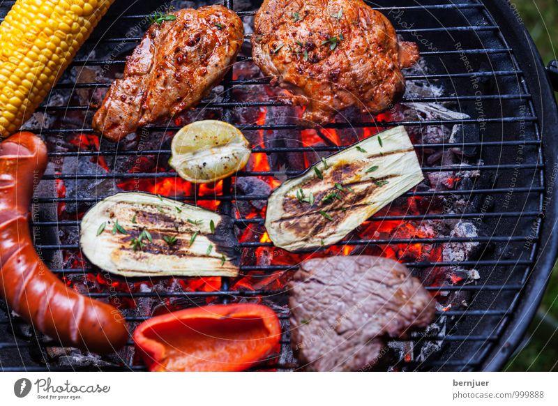 Grill von oben gesehen Lebensmittel Fleisch Wurstwaren Gemüse Abendessen Sommer gut heiß Aufsicht Grillrost Rindfleisch Schweinefleisch Kohle Glut Grillkohle